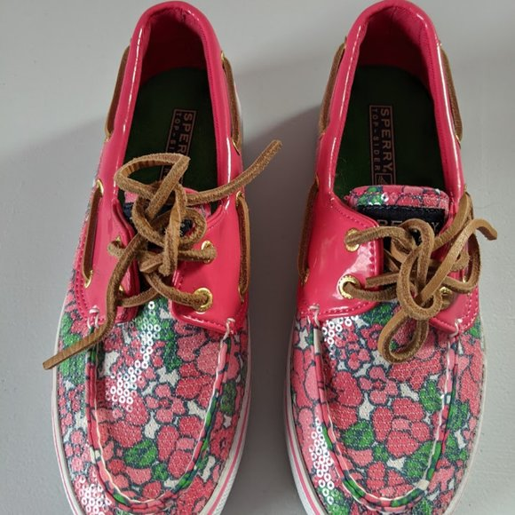 Sperry women's size 5M pink floral slip-on shoes